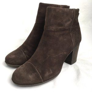 Clarks Enfield Tess booties brown suede boots 8 W